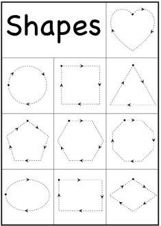 Free printable shapes worksheets for kindergarten 4 year old education preschool and shape learning Printable Shapes, Printable Preschool Worksheets, Worksheets For Kids, Printable Coloring, Free Printables, Alphabet Worksheets, Free Handwriting Worksheets, Teaching Handwriting, Matching Worksheets
