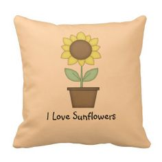 Sunflower Throw Pillow .........Add this Sunflower pillow to your sunroom, porch or patio for the spring and summer. The TEXT can be customized with your own saying. The BACKGROUND color on the front and back can also be changed to your desired color to match your decor.