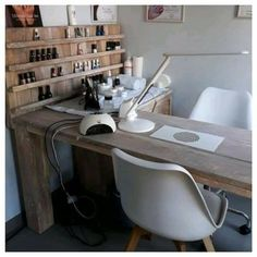 Glass top over wood table Home Beauty Salon, Home Hair Salons, Beauty Salon Decor, Home Salon, Nail Salon Design, Nail Salon Decor, Salon Interior Design, Spa Room Decor, Beauty Room Decor