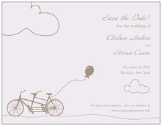 Purple Bicycle Wedding Save The Date Card | Vistaprint