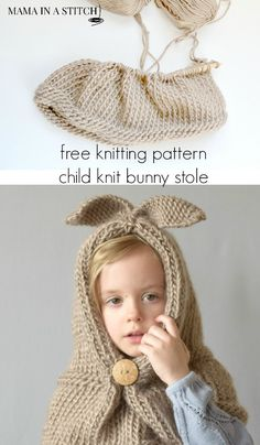 35a7d68cd6986 hat Free knitting pattern for a bunny hood from  mamainastitch Knitting For  Kids