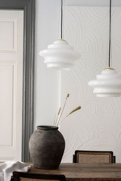 Curvy Cindy lights up any dining table with her crisp white light! Cindy is mouth blown and handmade - each piece is unique! White Light, Light Up, Dining Table, Pendant Lamps, Ceiling Lights, Unique, Handmade, Design, Home Decor