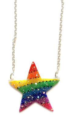 Sparkly Rainbow Star Necklace - Featured in SLIMMING WORLD MAGAZINE - Pride, Rainbows, Stars, Cute, Holographic Glitter. £15.00, via Etsy.