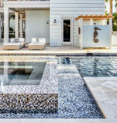 Top 60 Best Home Swimming Pool Tile Ideas - Backyard Oasis Designs Portable Outdoor Shower, Outdoor Spa, Outdoor Pergola, Outdoor Showers, Outdoor Living, Pergola Roof, Swimming Pool Tiles, Swimming Pool House, Swimming Pool Designs