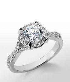 Monique Lhuillier Twist Shank Engagement Ring in Platinum #BlueNile
