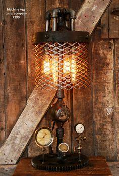 Steampunk Industrial Lamp, Pitner Gas Steam Gauge #390