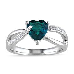 Miadora Sterling Silver Created Emerald and Diamond Accent Heart Ring (Size 5.5), Women's, Green