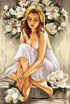 Italian lady cross stitch pattern by Sh Indian Art Paintings, Art Et Illustration, Art Drawings Sketches, Art Sketchbook, Figurative Art, Female Art, Art Girl, Watercolor Art, Canvas Art
