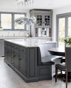 Home Interior Cocina Gray and white-top curved kitchen island.Home Interior Cocina Gray and white-top curved kitchen island Home Decor Kitchen, Interior Design Kitchen, Home Design, Kitchen Ideas, Diy Kitchen, Kitchen Designs, Eclectic Kitchen, Kitchen Inspiration, Rustic Kitchen