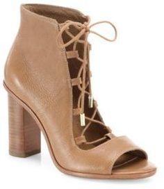 2b7026af998 Joie Cordelia Leather Lace-Up Block-Heel Booties Leather lace-up bootie set  on stacked block heel Stacked block heel