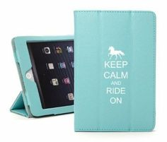 Apple iPad Mini Light Blue Faux Leather Magnetic Smart Case Cover Keep Calm and Ride On Horse Cute Ipad Cases, Ipad Mini Cases, Cool Iphone Cases, Cute Cases, Computer Accessories, Tech Accessories, Tablet Cover, New Ipad, Ipad 4