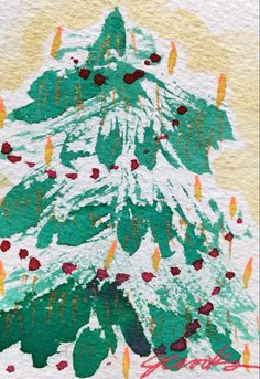 By Jeanette Crooks Watercolor Christmas Art, Christmas Tree, Map, Teal Christmas Tree, Location Map, Xmas Trees, Maps, Christmas Trees, Xmas Tree