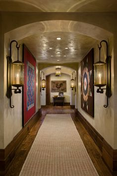 smart to have the interesting rugs on the walls and the dull one on the floor