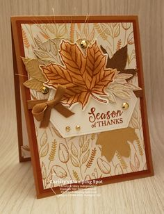 Halloween Cards, Fall Halloween, Fall Cards, Holiday Cards, Leaf Cards, Handmade Stamps, Thanks Card, Stamping Up Cards, Thanksgiving Cards