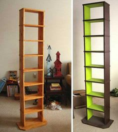i need a tall skinny bookcase like this to get rid of clutter and not make more clutter in our apartment with a wide obnoxious book case - Skinny Bookshelves