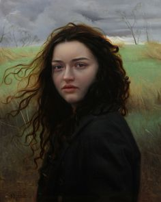 Lucie and the Wind 20 x 16 in. oil on linen by Kate Stone