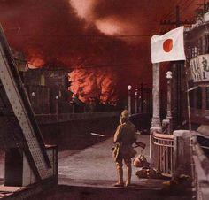 Burning city in China 1939