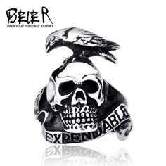 Punk Style Expendable Ring For Men 316L Stainless Steel Bird On Skull Ring Animal Jewelry Man Cheap BR8-120
