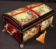Musical Jewelry Box With French Scenes Musical Jewelry Box, Music Boxes, Dainty Jewelry, Decorative Boxes, Auction, French, Antiques, Home Decor, Boxes