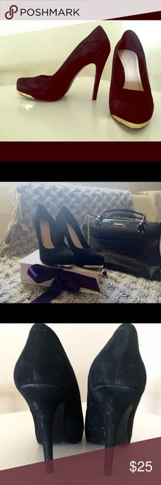 BCBG black suede pumps w/ gold embellishment Great with falls fashions! Skinny jeans, skirts, shorts and tights! You'll love these! Items in second pic (bag, necklace for sale in separate post). No trades or offline requests please. Smoke free home! BCBG Shoes Heels