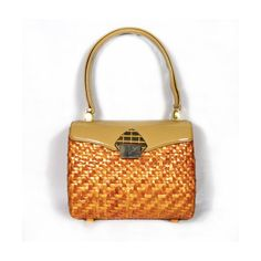 Koret Wicker and Patent Leather Bag with Gold Hardware - Ooh La La 1960's!