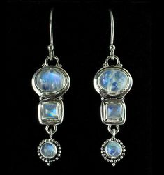 Rainbow Moonstone Drop Earrings handcrafted in Sterling Silver by Bluemoonstone Creations.