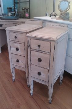 Great Idea to cut an old vanity in two! Nighstand pair shabby vintage chic by VintageChicFurniture on Etsy, $595.00