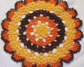 "8"" Thanksgiving doily harvest turkey fall autumn crochet thread home decor unique gift heart"