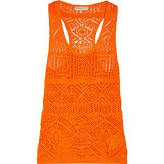 Emilio Pucci - Crochet-knit Cotton-blend Tank ($338) ❤ liked on Polyvore featuring tops, bright orange, print tank, knit top, crochet knit top, pattern tank top and crochet tops