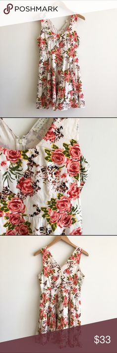 """Kimchi Blue Ivory Pink Floral Fit & Flare Dress Bust 16.5""""