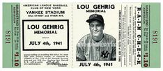 5 1941 LOU GEHRIG MEMORIAL YANKEE STADIUM BASEBALL UNUSED FULL TICKETS JULY 4th Baseball Playoffs, Football Ticket, Baseball Uniforms, Baseball Tickets, Baseball Cards, Mlb, New York Yankees Tickets, Ny Yankees