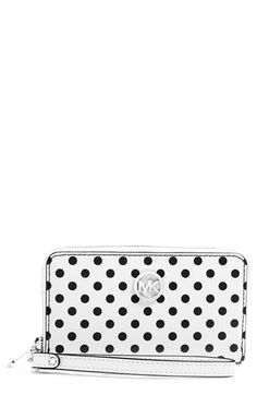MICHAEL Michael Kors 'Jet Set - Large' Polka Dot Saffiano Leather Phone Wallet | Nordstrom