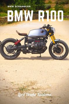 This is a BMW R100 motorcycle customized by Lord Drake Kustoms in a Scrambler style.