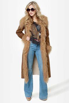 This coat reminds me of Jenny from Forrest Gump! :o) BB Dakota Blinda Coat - Brown Coat - Vegan Suede Coat - Faux Fur Trim Coat - $142.00