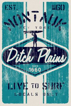"""this is 100% original artwork vintage distressed retro surf poster ditch plains surf montauk new york hand screen printed 2 color design. ARTWORK SIZE IS 12""""X18"""" PRINTED ON HEAVY COLD PRESSED ARTBOARD (VERY THICK) $24.99"""