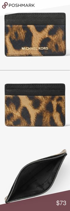Michael Kors Jet Set Travel Leopard Card Case Brand new never used! NWOT 100% authentic by Michael Michael Kors - Jet Set Travel Leopard Saffiano leather card case. Michael Kors Accessories Key & Card Holders