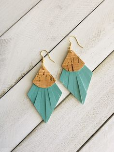 Teal and Cork Fringe Faux Leather Earrings Unique Earrings, Diy Earrings, Diy Statement Earrings, Jewellery Earrings, Fashion Earrings, Diamond Earrings, Fashion Jewelry, Diy Leather Feather Earrings, Leather Gifts