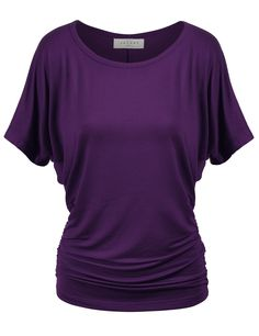 MBJ Womens Dolman Drape Top with Side Shirring at Amazon Women's Clothing store: