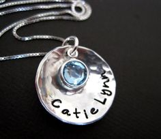 Hand Stamped Jewelry  Domed wtih Birthstone by byHannahDesign, $29.00
