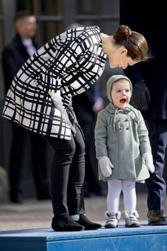 Her Royal Highness Crown Princess Victoria of Sweden husband Prince Daniel and daughter Princess Estelle celebrate Victoria's Name day in front of Stockholm's Royal Palace 3/12/2014