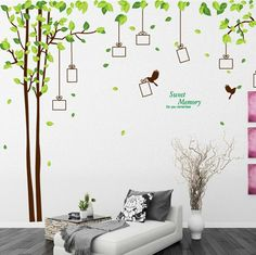 Photo frame tree wall decal, Tree wall decal with birds, photo wall sticker, living room wall decals, Sweet memory Home Wall Stickers Romantic, Photo Wall Stickers, Wall Stickers Home, Wall Stickers Murals, Wall Decal Sticker, Vinyl Wall Decals, Vinyl Art, Decoration Stickers, Family Photo Frames