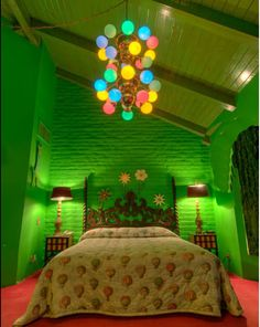 Funked out (green bedroom) design inspiration from the Madonna Inn in N. California.  This is basically the color I am going to put in our bathroom.