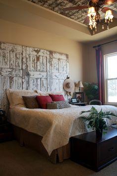 Bedroom   Old doors as headboard