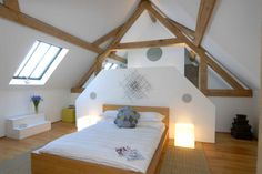 Architecture, Attic Bedroom Rustic Converted Barn Home Design With White Interior Color Decorating Ideas Sloping Ceiling Exposed Ceiling Beams And Wooden Floor Tiles: Elegant Converted Barn in the Cotswolds