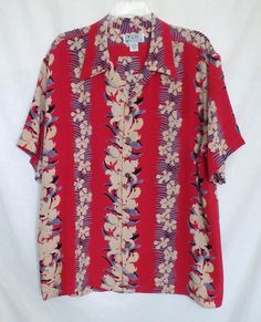 0c56dc4a Avanti Size XL Red Silk Retro Hawaiian Shirt Floral Print SS 13071504