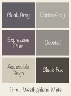 Our Home Interior Paint - Using Accessible Beige as the main color with accents of Dorian Gray Dovetail Cloak Gray Expressive Plum and Black Fox - all by Sherwin Williams. Room Paint Colors, Interior Paint Colors, Paint Colors For Home, Bedroom Colors, Wall Colors, Interior Painting, Gray Interior, Natural Interior, Interior Design