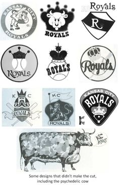 Rejected logo designs before the '69 season.  And yes, there's a psychadelic cown.