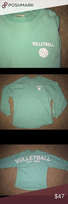 Spirit jersey volleyball long sleeve This long sleeve is super comfy and very cute! I love these types of shirts Suitable for just being at home or casual :) Mint green/teal color. Small bleach marks from wash but hardly noticeable! Spirit Tops Tees - Lo