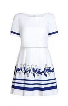 Birds Printing White Crew Neck A-line Short Sleeve Dress White Outfits, Cool Outfits, Fashion Outfits, Bird Dress, A Line Shorts, Dressy Dresses, Dress To Impress, Vintage Fashion, Short Sleeve Dresses
