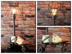 Industrial Re-purposed Vintage Wooden Shoe & Metal Roller Skate Up-cycled Lamp #IndustrialVintageLamp #Industrial